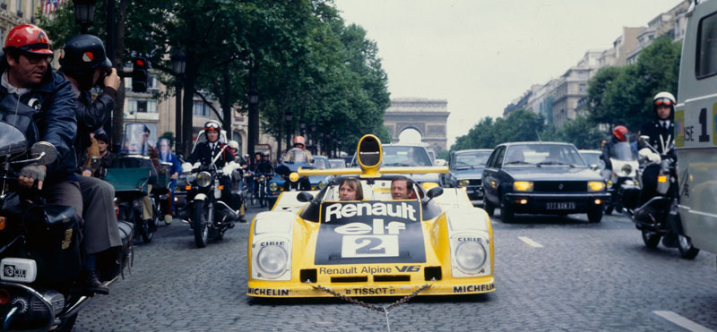 Celebrations on the Champs-Elysées following the victory of Jaussaud and Pironi in the 1978 Le Mans 24 Hours in an Alpine A442B