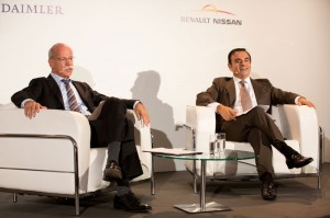 Dieter Zetsche and Carlos Ghosn at a Daimler and Renault Nissan Alliance conference