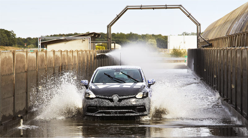 Renault Clio in a fording test at Aubevoye technical center