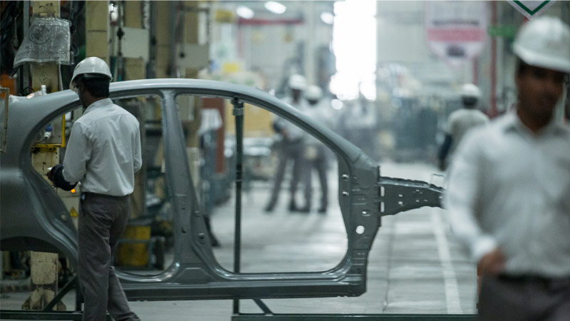 Sheet-metal worker at the Renault-Nissan plant in Chennai, India