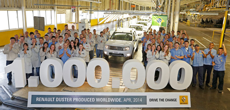 The one millionth Duster rolls off the assembly lines in Curitiba, Brazil in 2014
