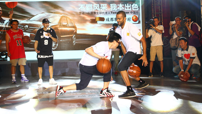Tony Parker dribbling with fans in China