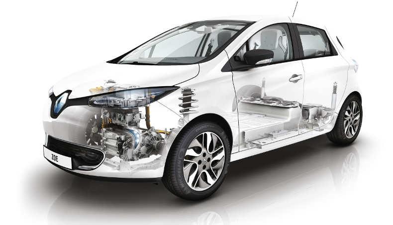 Renault ZOE - moteur électrique et batterie - 3/4 avant