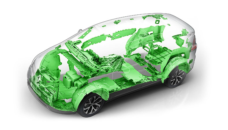 Renault Espace - 53,5 kilogrammes de matière plastique recyclée - Visuel 3D