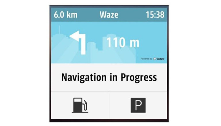 "Screenshot Waze Application, page ""navigation in progress"""