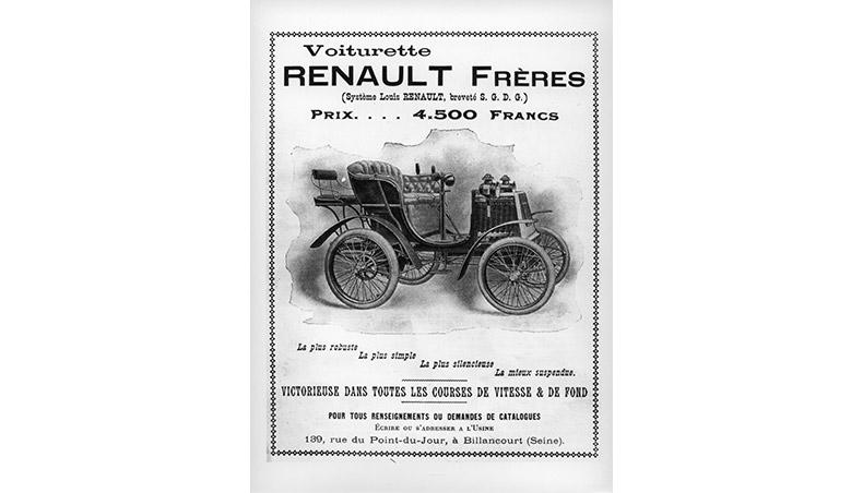 1900 - Publicité de la Renault Voiturette