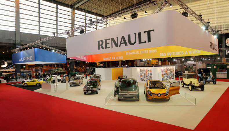 Retromobile Motor Show, stand Alpine and stand Renault