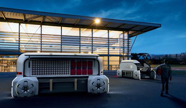 2018 - Renault EZ-PRO le concept-car Renault en situation statique devant un immeuble