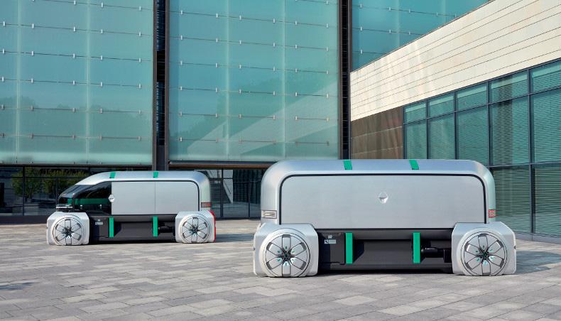 Renault EZ-PRO Concept-Car 2018 en situation de livraison du dernier kilomètre en bas d'un immeuble