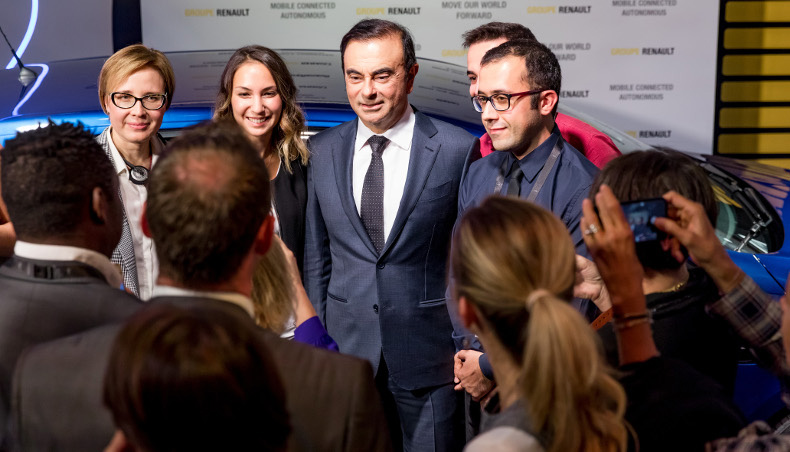 Carlos Ghosn meets some of the group's new hires at Paris Motor Show 2018.