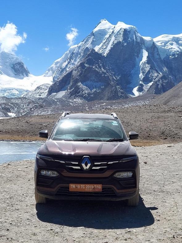 Renault Kiger in front of Gurudongmar Lake