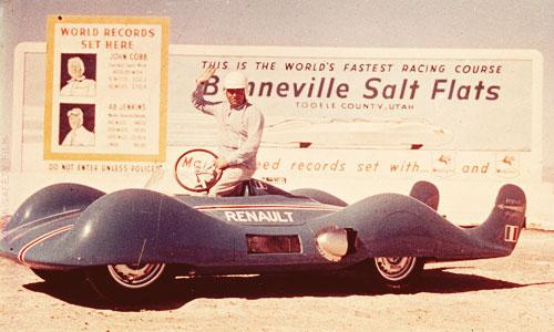 Hébert et l'Etoile Filante Renault à Bonneville, USA en 1956